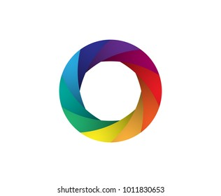 Rainbow camera shutter iris vector illustration. Colorful artwork on the white background.
