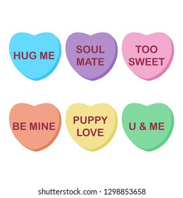 Rainbow Candy Hearts Collection - Cute rainbow conversation hearts candy for Valentine's Day isolated on white background