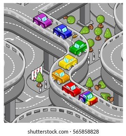 Rainbow cars driving together on highway, gay pride concept (isometric top view)