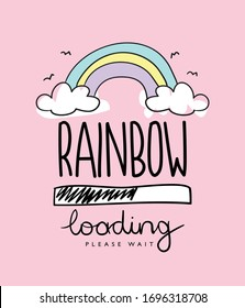Rainbow cartoon drawing on pink / Vector illustration design for kids, t shirt, fashion graphics, prints, posters etc