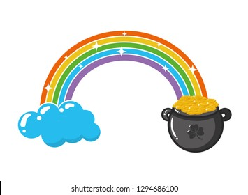 rainbow cauldron coins happy st patricks day vector illustration