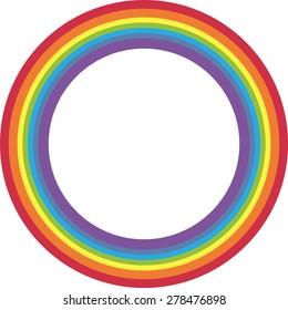 Rainbow circle on white background.