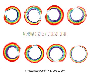 Rainbow circles vector set. Iridescent round brush strokes collection. Watercolor enso symbol set. Doodle rainbow round elements isolated on white. Editable vector elements.