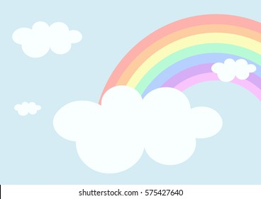Rainbow and cloud in the sky background