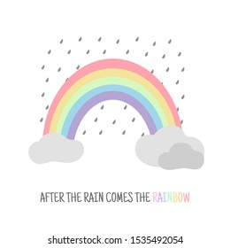 Rainbow with clouds. After the rain comes the rainbow. Motivational lettering, greeting card. Vector illustration.
