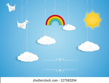 Rainbow, clouds, birds and sun toys. Vector illustration