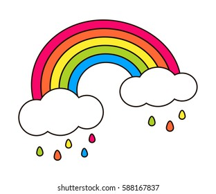 Rainbow and clouds, colorful drop raining isolated on white. Cute cartoon vector design. Banner, poster, sticker, patch badge, lgbt symbol Decoration element for girl baby, children room interior