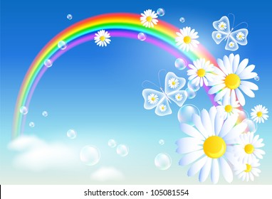 Rainbow, clouds and diasy