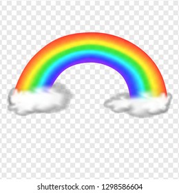 rainbow with clouds realistic illustration isolated on transparent background vector