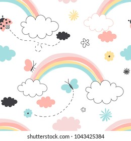 rainbow with clouds seamless pattern, nursery graphic