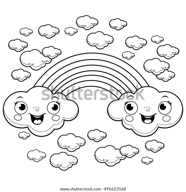 Rainbow Clouds Sky Black White Coloring Stock Vector ...