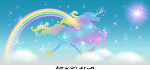 Rainbow in the clouds sky and galloping unicorn with luxurious winding mane against the background of the iridescent universe with sparkling stars