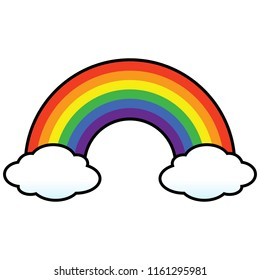 Rainbow with Clouds - A vector cartoon illustration of a colorful rainbow with clouds.