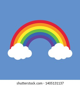 Rainbow With Clouds Vector Illustration