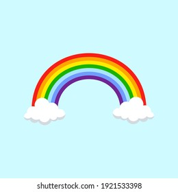 Rainbow and clouds. Vector illustration.