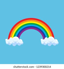 Rainbow with clouds vector illustration isolated on blue background