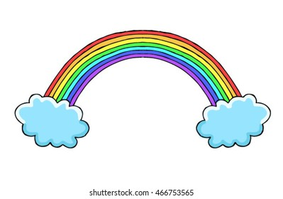 Rainbow and clouds vector on a white background. Object isolated illustration. Doodle style. Cloth design, wallpaper, wrapping, textiles, paper, cards, invitations, holiday,birthday. Color art. Eps10.