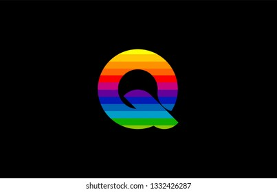 rainbow color colored colorful alphabet letter q logo design suitable for a company or business