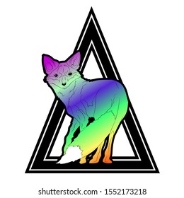rainbow color fox on a background from a triangle