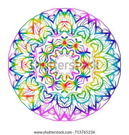 308f2851431d9 Rainbow color Hand-Drawn Henna Ethnic Mandala. Circle lace ornament. Vector  illustration. for coloring book, greeting card, invitation, tattoo.