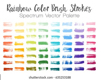 Rainbow color paint brush strokes. Can be used in colors guide book, interior design catalog, printing industry. Paint samples choice palette. Spectrum vector brushstrokes on white background.