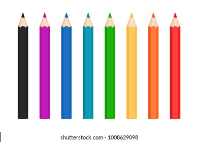 Rainbow color pencils vector collection isolated on white background