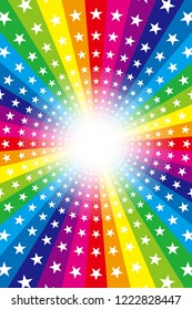 Rainbow color and star radiation, entertainment, happy party
