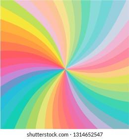Rainbow color swirl twist background vector
