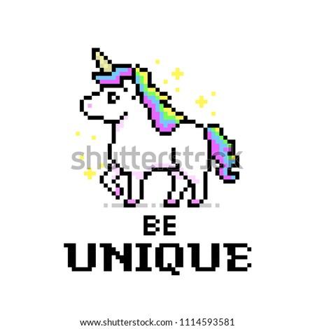 Rainbow Color Unicorn Pixel Art Game Image Vectorielle De Stock