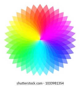 Rainbow color wheel. Colorful illustration guide. Isolated.