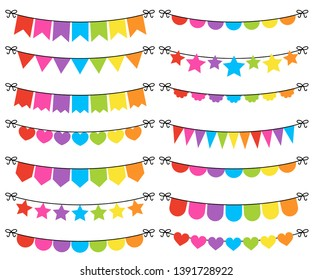 Rainbow Colored Bunting Vector Set. Colorful flags on string, party garlands, festive pennant banner clip art collection. Birthday decoration. Bunting illustration flat style.
