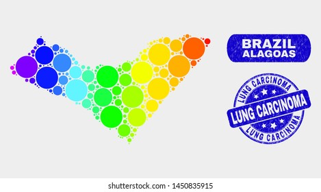 Rainbow colored dot Alagoas State map and seal stamps. Blue rounded Lung Carcinoma grunge stamp. Gradiented spectrum Alagoas State map mosaic of scattered circle dots.