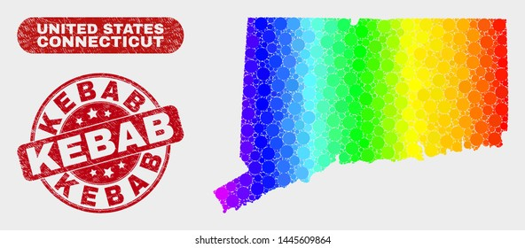 Rainbow colored dot Connecticut State map and rubber prints. Red round Kebab scratched seal stamp. Gradient rainbow colored Connecticut State map mosaic of random round dots.