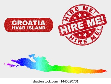 Rainbow colored dot Hvar Island map and seal stamps. Red round Hire Me! grunge stamp. Gradient rainbow colored Hvar Island map mosaic of scattered round elements. Hire Me! imprint with rubber surface.