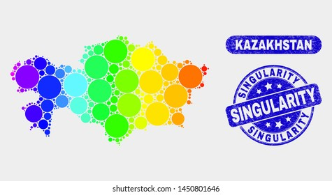 Rainbow colored dot Kazakhstan map and rubber prints. Blue round Singularity grunge seal. Gradiented rainbow colored Kazakhstan map mosaic of random circle elements.