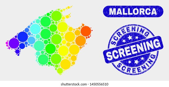 Rainbow colored dot Mallorca map and rubber prints. Blue round Screening textured stamp. Gradiented rainbow colored Mallorca map mosaic of random small spheres. Screening stamp with rubber texture.