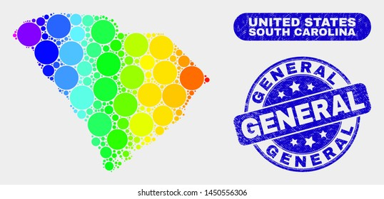 Rainbow colored dot South Carolina State map and seals. Blue round General scratched seal stamp. Gradiented rainbow colored South Carolina State map mosaic of random round dots.