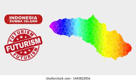 Rainbow colored dot Sumba Island map and rubber prints. Red rounded Futurism textured seal stamp. Gradient rainbow colored Sumba Island map mosaic of random small spheres.