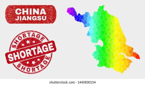 Rainbow colored dotted Jiangsu Province map and seal stamps. Red rounded Shortage scratched seal. Gradient rainbow colored Jiangsu Province map mosaic of random round elements.