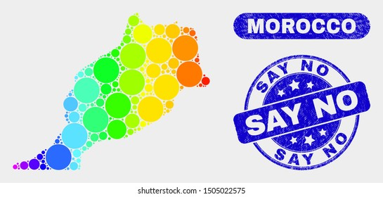 Rainbow colored dotted Morocco map and seal stamps. Blue round Say No grunge watermark. Gradient rainbow colored Morocco map mosaic of randomized small spheres. Say No watermark with grunge texture.