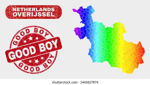 Rainbow colored dotted Overijssel Province map and rubber prints. Red rounded Good Boy scratched seal stamp. Gradient rainbow colored Overijssel Province map mosaic of scattered small circles.