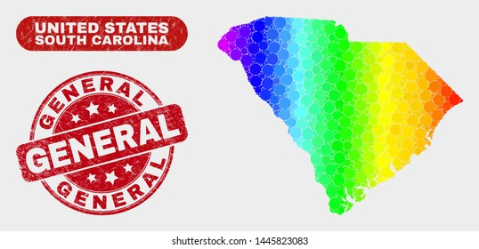 Rainbow colored dotted South Carolina State map and seal stamps. Red rounded General grunge stamp. Gradient rainbow colored South Carolina State map mosaic of scattered round elements.