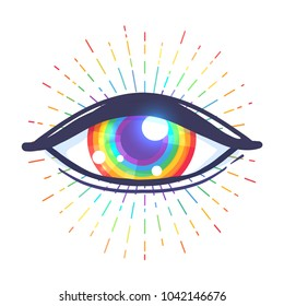 Rainbow colored eye. Flag of LGBT community inside eyeball. Vector illustration  for sticker, pin, greeting card, poster, patch, t-shirt prints.