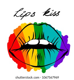 Rainbow colored lips. Flag of LGBT community on lips. Vector illustration for sticker, pin, greeting card, poster, patch, t-shirt prints. White teeth