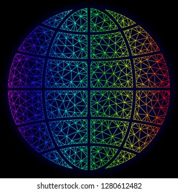 Rainbow colored mesh vector globe isolated on a dark blue background. Abstract lines, triangles forms globe. Carcass model for political posters. Polygonal model has bright rainbow colors.