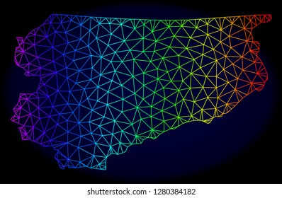 Rainbow colored mesh vector map of Warmia-Masuria Province isolated on a dark blue background. Abstract lines, triangles forms map of Warmia-Masuria Province. Carcass model for political templates.