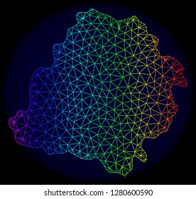 Rainbow colored mesh vector map of Lodz Province isolated on a dark blue background. Abstract lines, triangles forms map of Lodz Province. Carcass model for political posters.