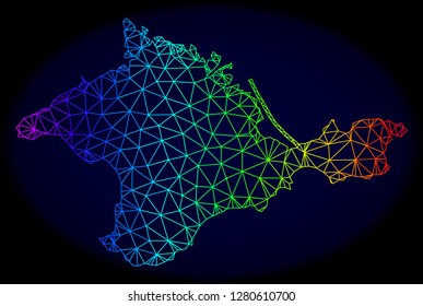 Rainbow colored mesh vector map of Crimea isolated on a dark blue background. Abstract lines, triangles forms map of Crimea. Carcass model for patriotic purposes.