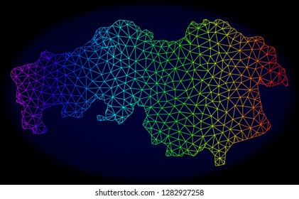 Rainbow colored mesh vector map of North Brabant Province isolated on a dark blue background. Abstract lines, triangles forms map of North Brabant Province. Carcass model for patriotic illustrations.