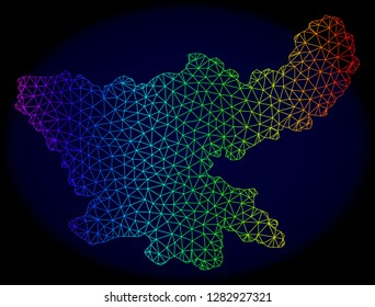 Rainbow colored mesh vector map of Jharkhand State isolated on a dark blue background. Abstract lines, triangles forms map of Jharkhand State. Carcass model for political illustrations.